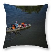 Fishing The Bypass Canal  Throw Pillow