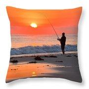 Fishing The Golden Dawn Throw Pillow