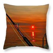 Fishing The Midnight Sun Throw Pillow