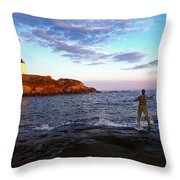 Fishing The Nubble Throw Pillow