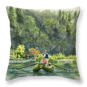 October Morning Fishing The Trinity River Throw Pillow