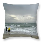 Fishing Through The Storm - Diamond Shoals Nc Throw Pillow
