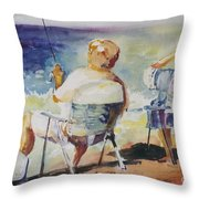 Fishing Together Throw Pillow