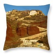 Fishing Town On A Hill Throw Pillow