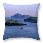 Fishing Trawler, Blasket Islands, Co Throw Pillow