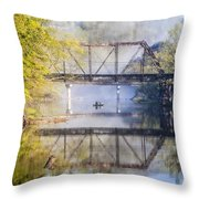 Fishing Under The Trestle Throw Pillow