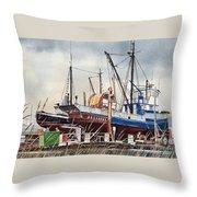 Fishing Vessel Ranger Drydock Throw Pillow