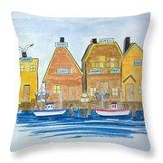 Fishing Village 3 Throw Pillow