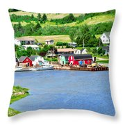 Fishing Village In Prince Edward Island Throw Pillow