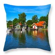 Fishing Village Of Vaxholm Sweden Throw Pillow