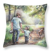 Fishing With My Dad  Throw Pillow by Laurie Shanholtzer