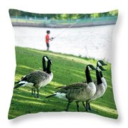 Fishing With The Geese Throw Pillow