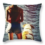 Fishing With The Pup Throw Pillow