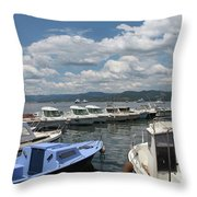 Fishingboats Throw Pillow