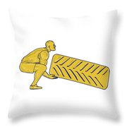 Fitness Athlete Squatting Lifting Tire Drawing Throw Pillow