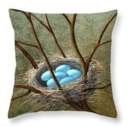 Five Blue Eggs Throw Pillow
