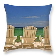 Five Chairs On The Beach Throw Pillow
