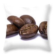 Five Coffee Beans Isolated On White Throw Pillow