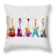 Five Colored Guitars Throw Pillow
