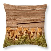 Five Fox Kits By Old Saskatchewan Granary Throw Pillow