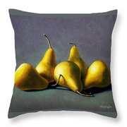 Five Golden Pears Throw Pillow