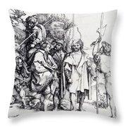 Five Lansquenets And An Oriental On Horseback 1495 Throw Pillow