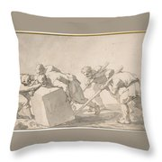 Five Men Pushing A Block Of Stone Throw Pillow