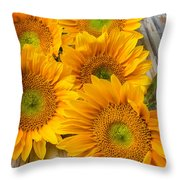 Five Moody Sunflowers Throw Pillow
