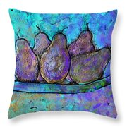 Five Pears On A Platter Throw Pillow