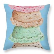 Five Scoop Ice Cream Cone Throw Pillow