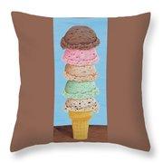 Five Scoop Ice Cream Cone Throw Pillow