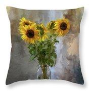 Five Sunflowers Centered Throw Pillow