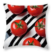 Five Tomatoes  Throw Pillow by Garry Gay