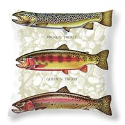 Five Trout Panel Throw Pillow