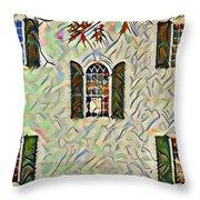 Five Windows Watercolor Throw Pillow