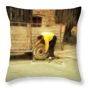 Fixing Wheel Throw Pillow