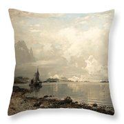 Fjord Landscape With Figures Throw Pillow