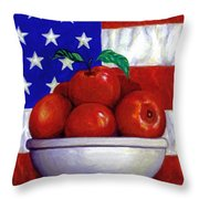 Flag And Apples Throw Pillow