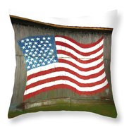 Flag And Barn - Painting Throw Pillow