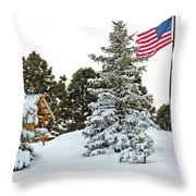 Flag And Snowy Pines Throw Pillow