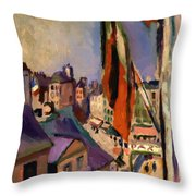 Flag Decorated Street 1906 Throw Pillow
