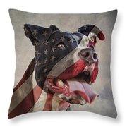 Flag Dog Throw Pillow