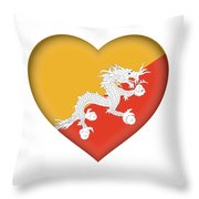 Flag Of Bhutan Heart Throw Pillow
