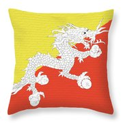 Flag Of Bhutan Wall Throw Pillow