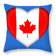 Flag Of Canada Heart Throw Pillow