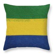 Flag Of Gabon Grunge. Throw Pillow