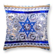 Flag Of Israel. Bead Embroidery With Crystals Throw Pillow
