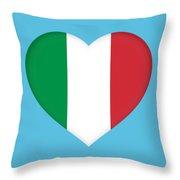 Flag Of Italy Heart Throw Pillow