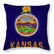 Flag Of Kansas Grunge Throw Pillow