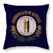 Flag Of Kentucky Grunge Throw Pillow